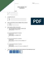 Grade IV Semester 1 Test