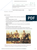 Medieval History Notes_ Arab & Turkish Invasions in India