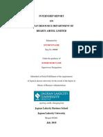 Internship Front Page