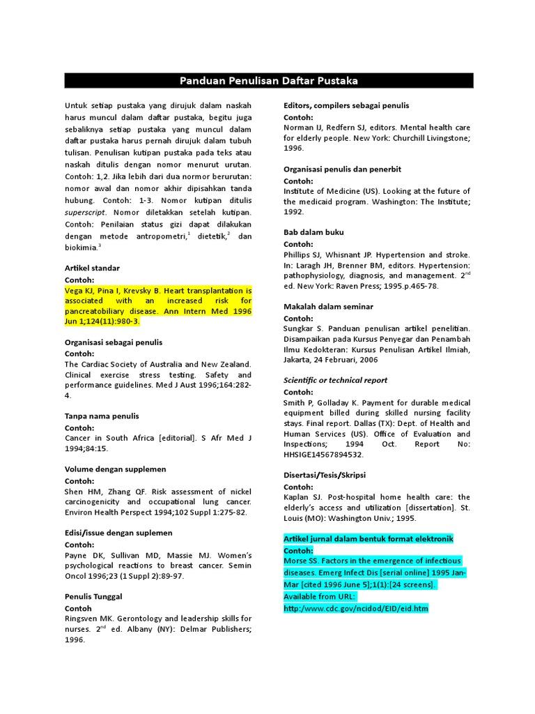 4 Pedoman Penulisan Daftar Pustaka Medicine Medical Specialties
