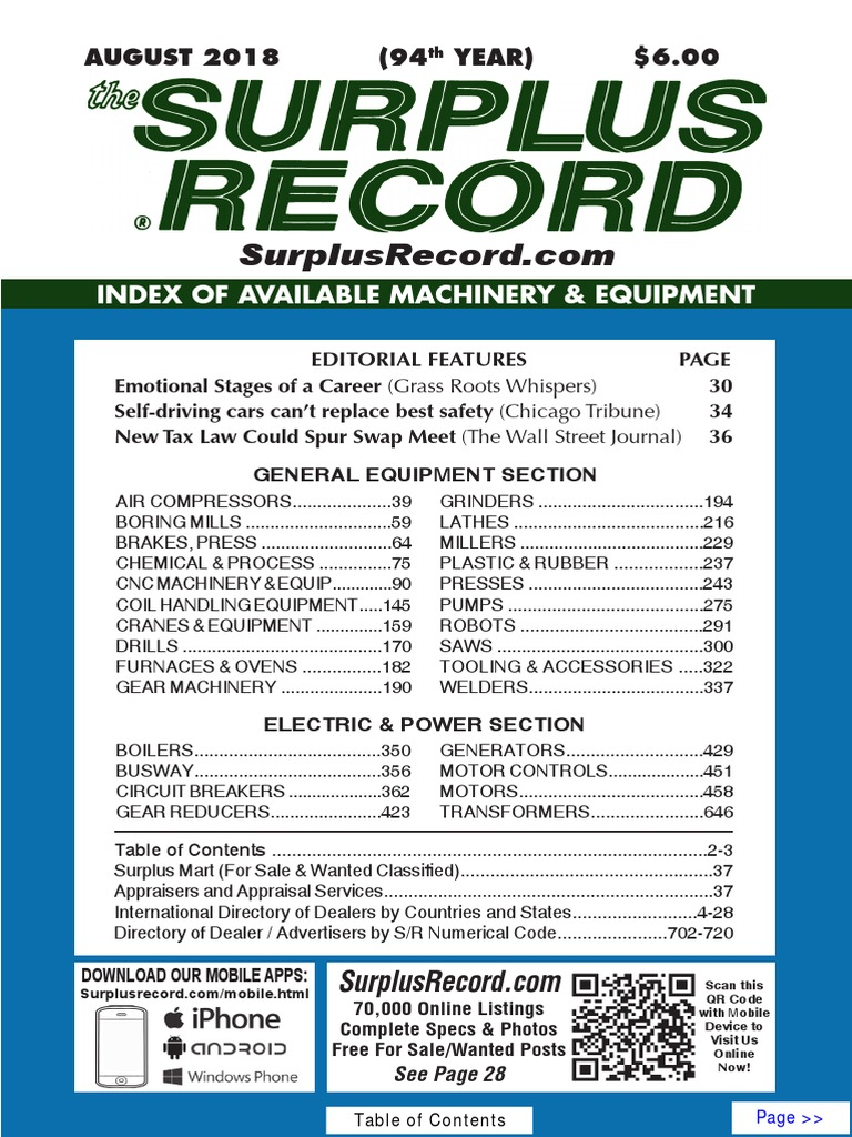 AUGUST 2018 Surplus Record Machinery & Equipment Directory