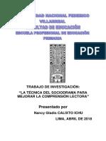 Monografia La Técnica Del Sociodrama Para Mejorar La Comprensión Lectora