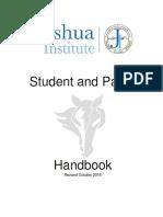 Joshua Institute Student Parent Handbook10.28.16.Docx (1)