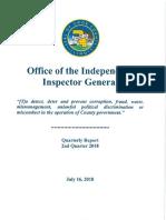OIIG Quarterly Report, 2nd Qtr 2018