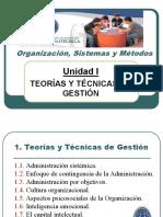 Organización, sistemas y métodos - Unidad 1 Teorías y Técnicas de Gestión