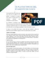 Los Platos Tìpicos Del Departamento Del Cusco