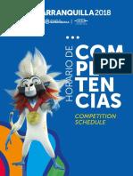 Horario de las Competencias Barranquilla 2018