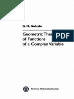 [Translations of Mathematical Monographs 26] Gennadiĭ Mikhaĭlovich Goluzin - Geometric Theory of Functions of a Complex Variable (Translations of Mathematical Monographs, Vol. 26) (1969, AMS Bookstore)