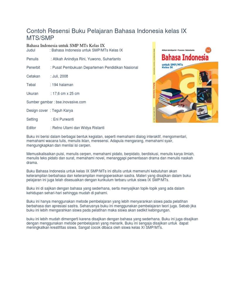 Contoh Resensi Buku Pelajaran Bahasa Indonesia Kelas Ix Mts