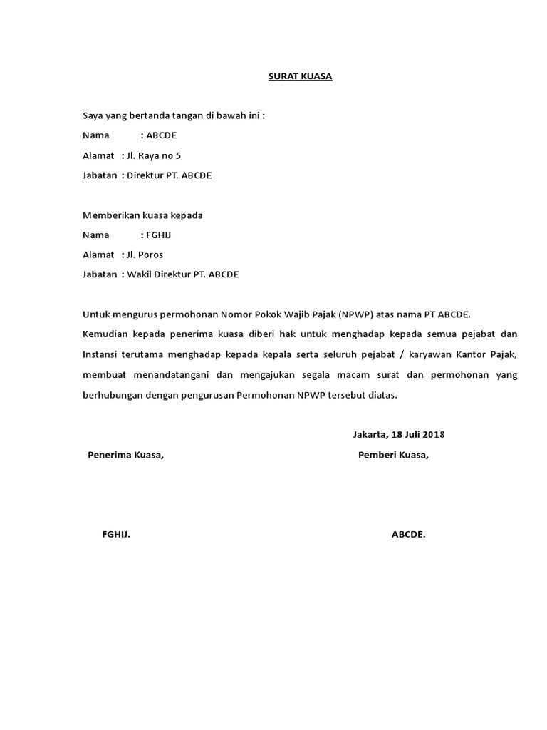 Surat Kuasa Pengurusan Npwp Badan - Bagikan Contoh