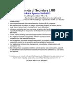 10 Point Agenda of Secretary LMB