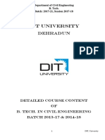 DIT University -Detailed Course Content for B. Tech (Civil) Batch 2017-21