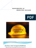 Role and responsibilities of production manager