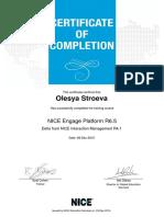 NICE Certificate - NICE Engage Platform R6 5