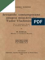 Nicolae Iorga - Izvoarele Contemporane Asupra Mișcării Lui Tudor Vladimires