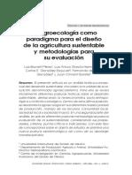 La Agroecología Como Paradigma