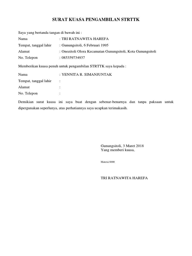 Surat Kuasa Pengambilan Strttk Docx
