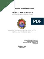 Impacto de La Inversión Pública en El Desarrollo Regional Del Peru