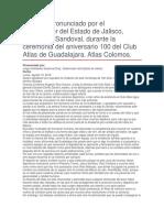 Ceremonia Del Aniversario 100 Del Club Atlas de Guadalajara