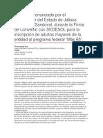 """Firma de Convenio Con SEDESOL Para La Inscripción de Adultos Mayores de La Entidad Al Programa Federal """"Más 65"""""""