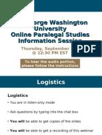 GW Paralegal Studies Online Sept 23rd Info Session