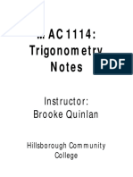 Trig Notes With Cover Page