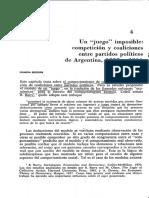 O'Donnell, Guillermo. 1972. El Juego Imposible Competición y Coaliciones Entre Partidos Políticos de Argentina