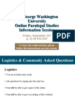 GW Paralegal Studies Online Sept 24th Info Session for Applicants