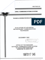 Meteor Burst Systems- US Gov 1990's Program for National Standards
