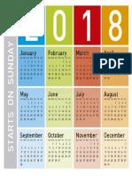 Calendario 2018 en Ingles