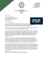 Rep. Daneya Esgar and Rep. Chris Hansen's letter to Treasurer Stapelton 7.18.18