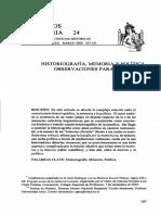 Historiografia Memoria y Politica