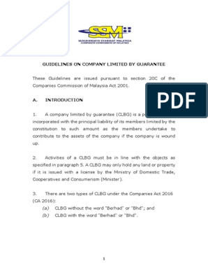 Guidelines On Setting Up A Berhad Limited By Guarantee License Money Order