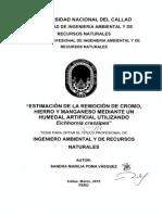 ESTIMACION EN LA REMOCIDN DE CROMO, V HIERRO Y MANGANESO MEDIANTE UN HUMEDAL ARTIEICIALV UTILIZANDO Eichhornia.cras$sipes