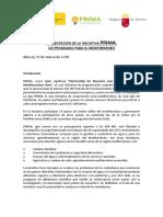 Información sobre Convocatoria Europea PRIMA