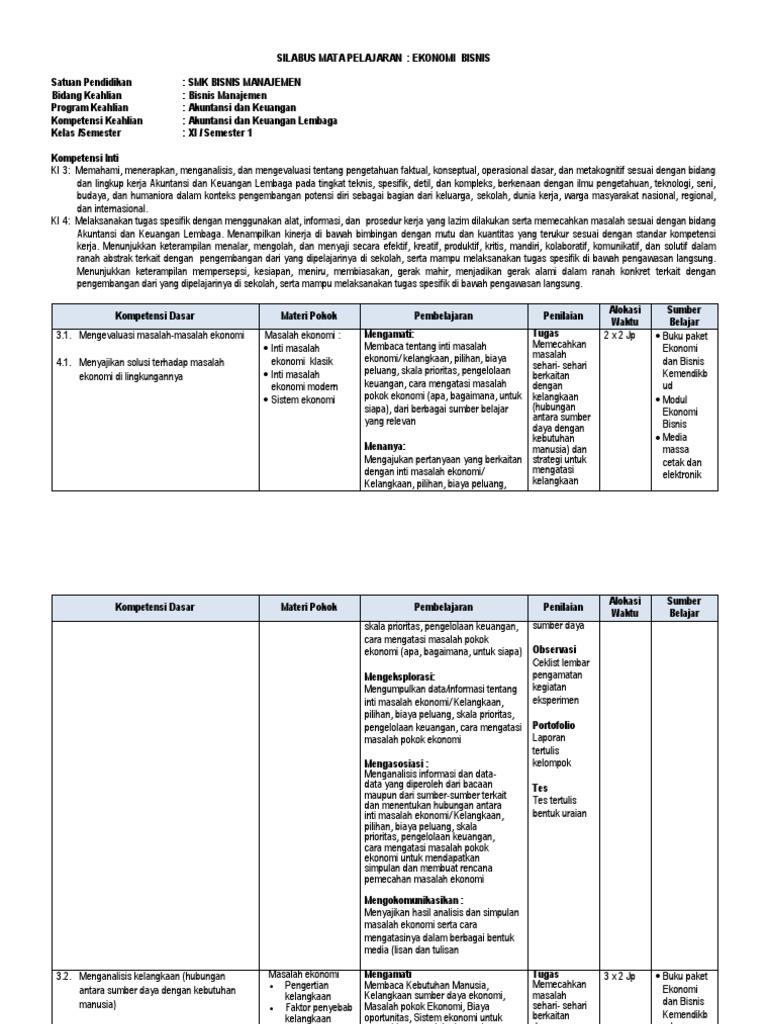 Download Silabus Ekonomi Bisnis Kelas X Smk - Guru Paud