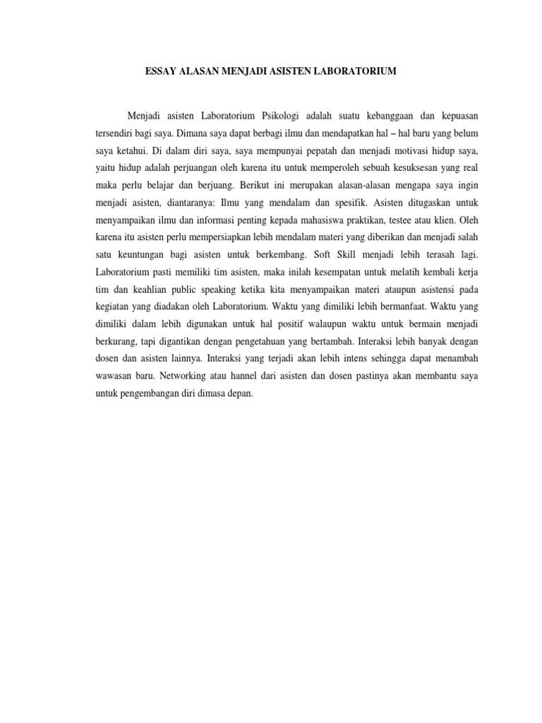 essay motivasi menjadi asisten laboratorium