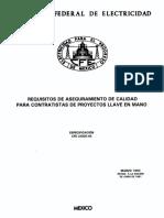 CFE L0000-40 Requisitos de Aseguramiento de Calidad Para Contratistas de Proyectos Llave en Mano