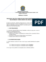 Edital Seleção Curso de Italiano Atualizado 2018.2