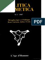 1 - 1987 M 233 Taphysique Et Politique Rene Guenon Julius Evola