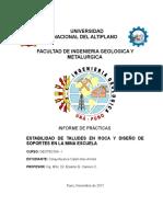 Informe de Estabilidad de Talud y Soporte de La Mina Escuela