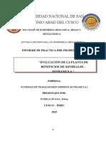 291986878 Informe de Practicas Planta de Beneficios Minera Sotrami s A