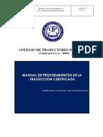 Manual de Procedimientos de la Traducción Certificada