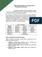 Los Tipos de Objetivos Empresariales y La Tipología de Las Estrategias Empresariales