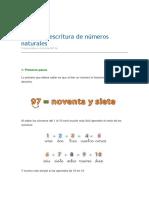 Lectura y Escritura de Números Naturales