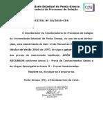 Edital Nº 25-2016- Gabarito - Vestibular de Verão 2016 - UEPG 2016 Verão