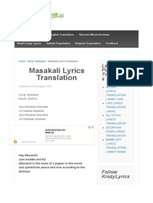 Masakali Lyrics Translation - English Translations and