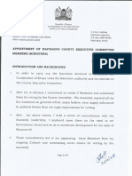 APPOINTMENT OF MACHAKOS COUNTY EXECUTIVE COMMITTEE MEMBERS (MINISTERS)