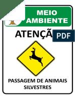 Placa de Sinalização Ambiental - Animais Silvestres