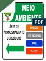 Placa de Sinalização Ambiental - Área de Armazenamento de Resíduos